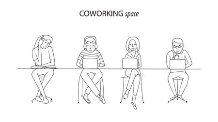 work environment: Coworking office space, people at laptops working together, thin line style vector