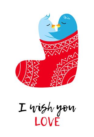Christmas vector card with love pinguines, Xmas cartoon funny stocking