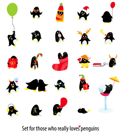 Big set of 25 cute vector penguins, christmas penguin in reindeer and Santa hats, with sweets, present, happy and cool on party.
