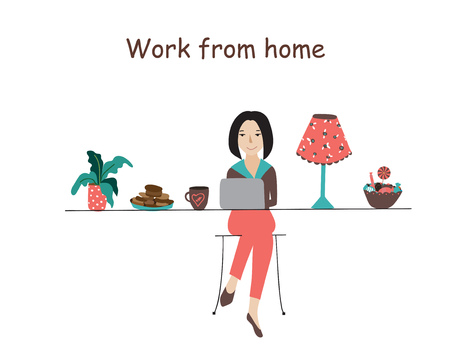 work environment: Home office, I like working from home flat vector concept