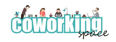 コワーキング オフィス スペース、テキストおよびフラット スタイルのベクトルの概念を一緒に働く人々  イラスト・ベクター素材