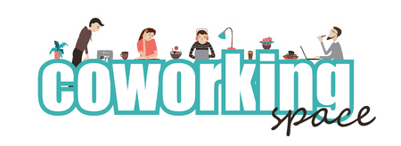 Coworking oficina de espacio, el texto y las personas que trabajan juntas, estilo plano vector de concepto Ilustración de vector