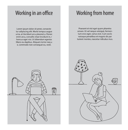 work environment: Working in office and work from home banners, thin line vector