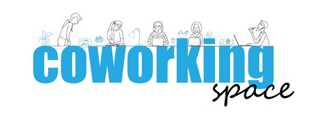 co: Coworking office space, text and people working together, thin line style vector concept