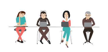 Coworking office space, people at laptops working together, flat style vector