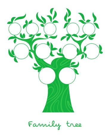 Family tree chart, genealogical tree, family portraits photo frame thin line style vector