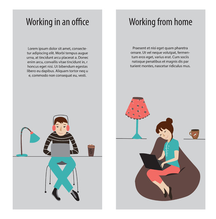 work environment: Working in office and work from home banners, flat vector Illustration