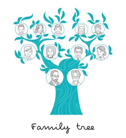 Stamboom grafiek, stamboom, familie portretten dunne lijn stijl vector