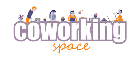 Coworking space text vector concept Illustration