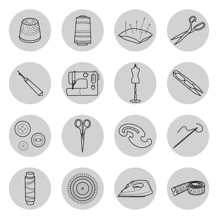 Set of sewing tools icons Illustration