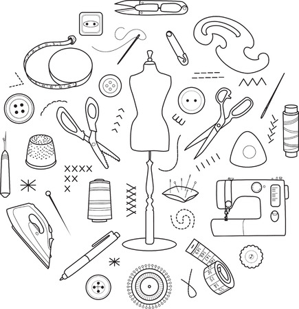 Sewing tools vector round concept