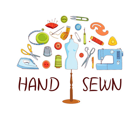 Sewing and tailoring tools, Sewing machine, needles, mannequin or dummy, vector half round concept, Hand sewn