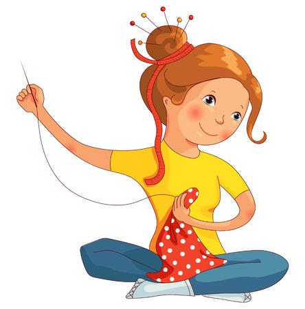 Meisje het naaien, naaister naaien, met de hand gemaakt, cartoon vector illustratie