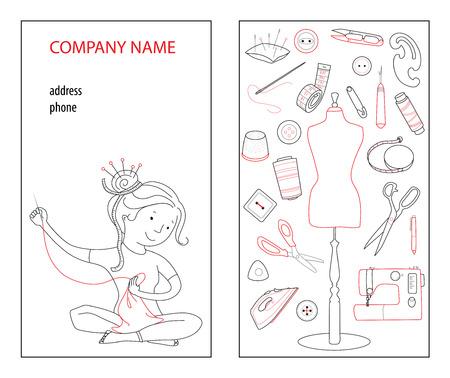 Plantilla de vector de tarjeta de visita de estudio de costura, concepto cosido a mano, costurera y herramientas de costura, estilo de línea fina de dibujos animados Ilustración de vector