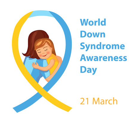 abilities: World Down Syndrome Awareness Day, vector illustration with cute girl hugging a mother and ribbon