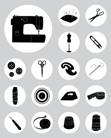 Set of black silhouettes of sewing tools, Sewing machine, threads, pins and needles, flat vector round icons