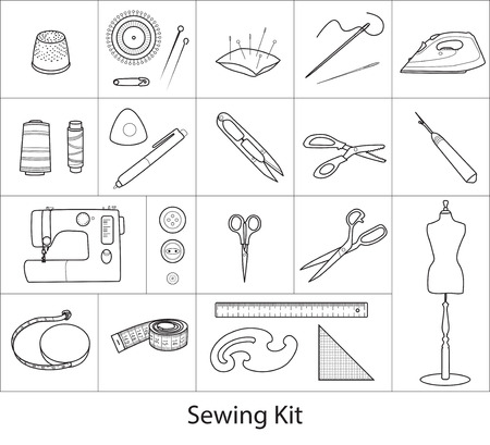 Sewing tools kit, line vector icons