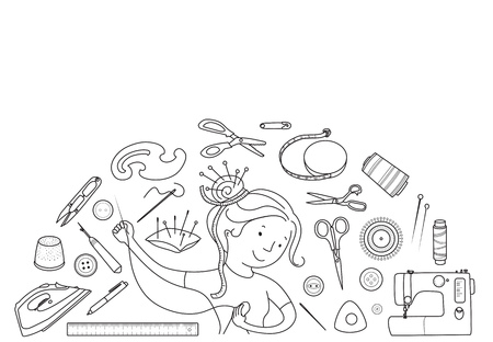 Seamstress girl and sewing tools vector concept Illustration