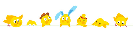 Easter horizontal vector border with cute chicks