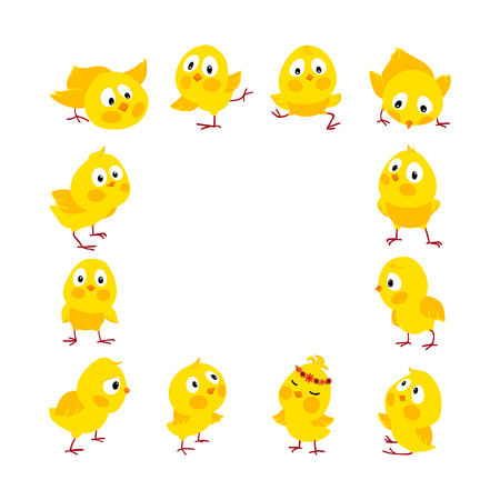 Easter square frame with cute funny chicks, Vector background, Place for your text