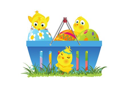 Shopping basket with decorative easter eggs and funny chicks on green grass, vector illustration