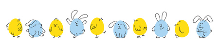 Set of funny Easter bunnies and chicks Illustration