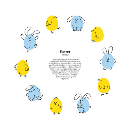 Easter round frame with funny bunnies and chicks Illustration