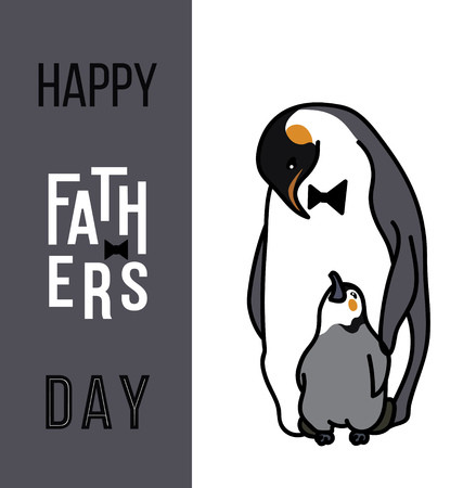Happy fathers day card, Dad and kid animals Illustration