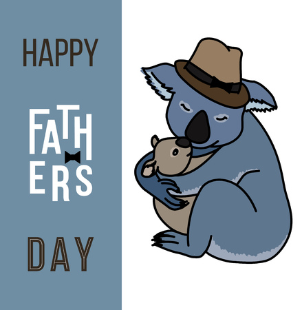 cute bear: Happy fathers day card, Dad and kid animals Illustration