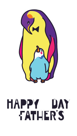colourful tie: Happy fathers day card, Dad and kid animals Illustration