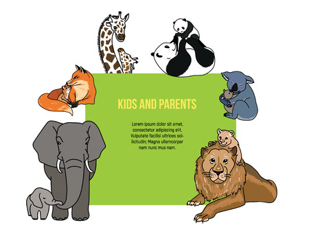 Zoo poster with kids and parents animals, vector illustration, invitation