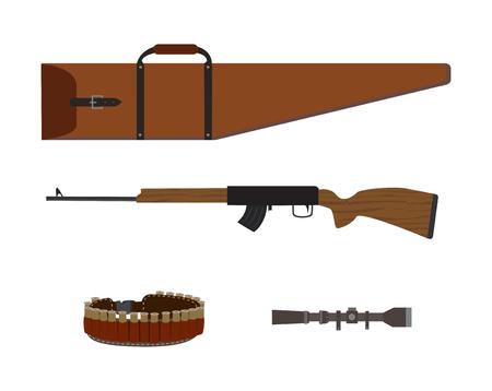 Hunting shotgun, rifle case, cartridge belt and optical sight, flat vector illustration