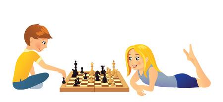 smart girl: Kids playing chess Illustration