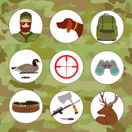 Hunter and hunting flat vector icons