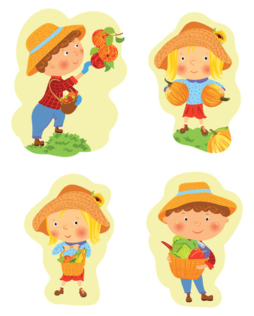 Set of funny cartoon boy and girl harvesting