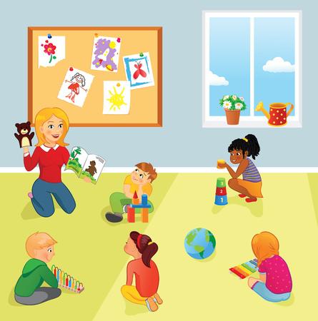 Elementary school class, teacher and kids