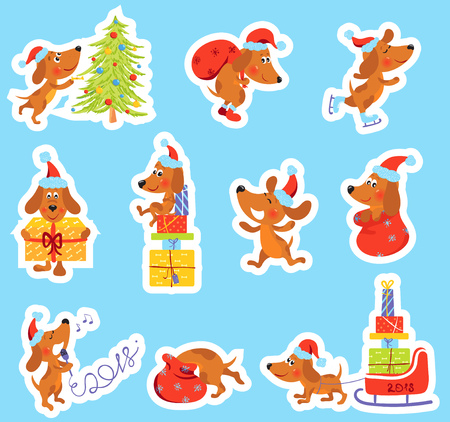 Set of Christmas, New Year stickers with cute dog