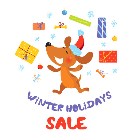 Winter holidays sale banner with dog in Santa hat Illustration