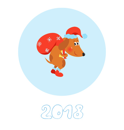 Happy New Year card with cute Dog