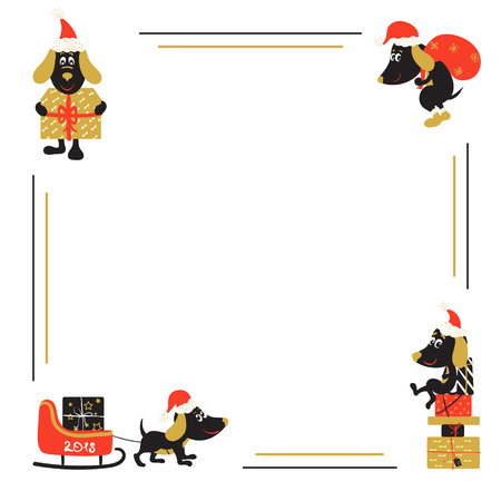 Christmas or New Year background with cartoon dog Illustration