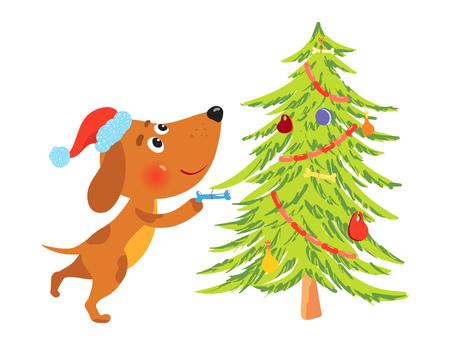 Cute cartoon dog decorating christmas tree
