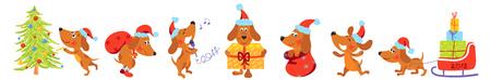 temlate: Horizontal banner with Christmas dogs Illustration