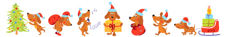 Horizontal banner with Christmas dogs Stock Illustratie