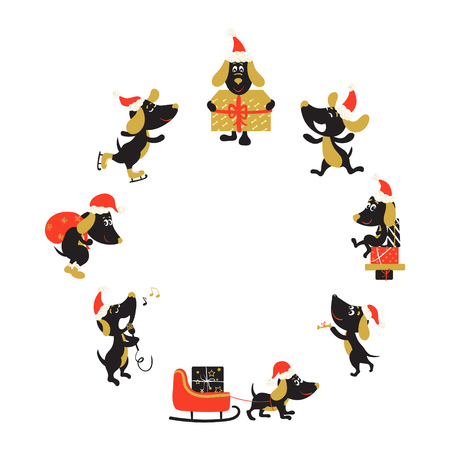 Round frame with funny dogs in Christmas hats Illustration