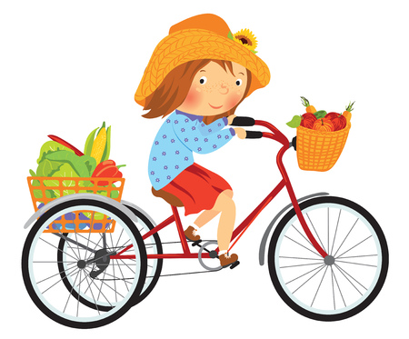Cartoon farmer girl on a bike with fruits