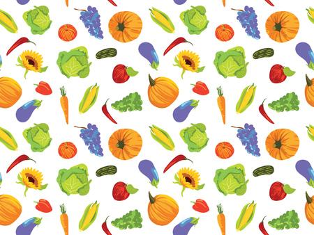 Seamless pattern with fruits and vegetables Stock Illustratie