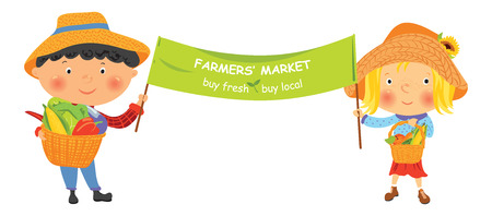 Cartoon farmer girl and boy with banner Stock Illustratie