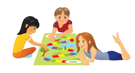 Kids playing board game