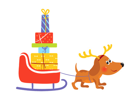 Dog with reindeer antlers pulls sledge with gifts Illustration
