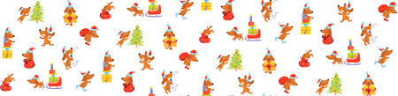 Seamless pattern with carton dog in Christmas hat